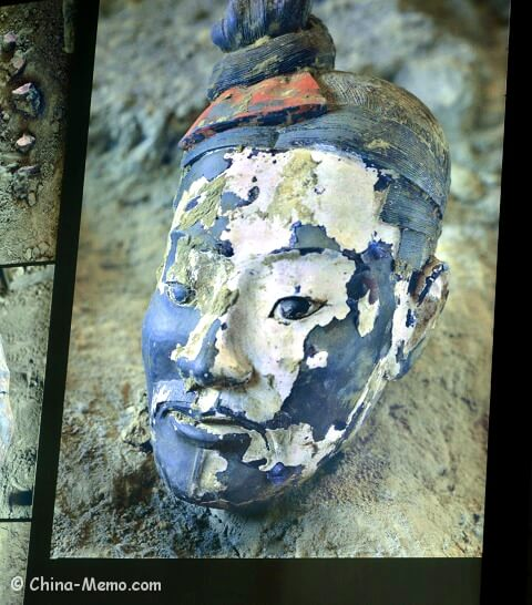 Xian Terracotta Army. A color painted head.