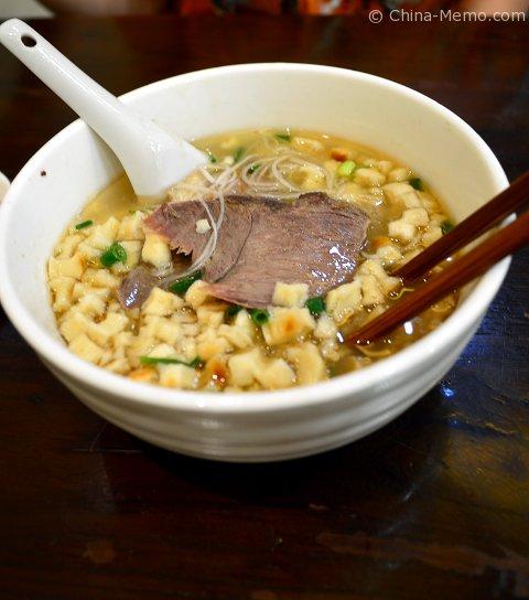 Xian Muslim Street Bread in Lamb Soup.