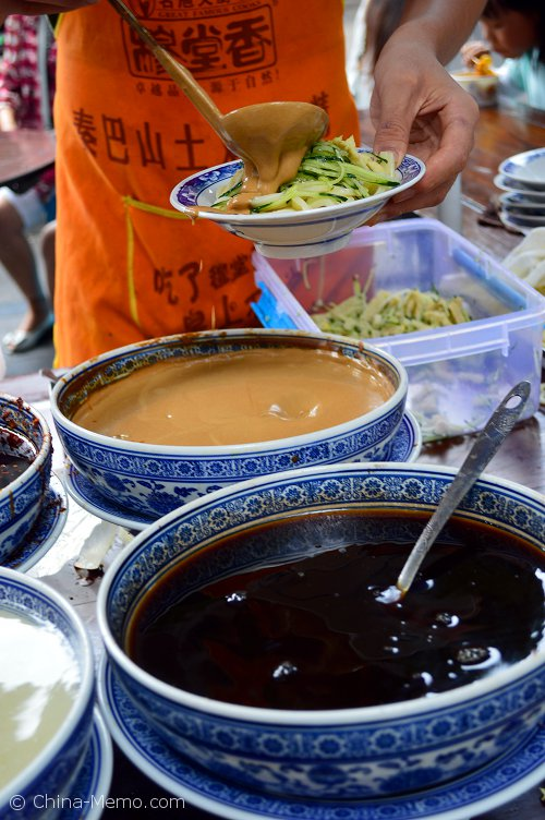 Xian Muslim Street Cold Noodle with Sesame Sauce.