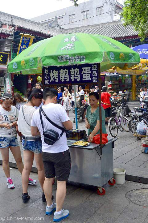 China Xian Muslim Street Food Stall for Grilled Quial Eggs.